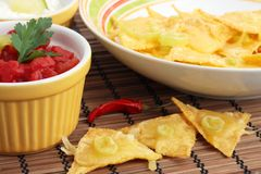 Real nachos with salsa Stock Photo