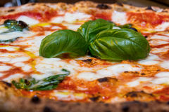 The real Neapolitan pizza Margherita Stock Images