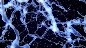 Real Neuron network synapse inside the human brain. Neuronal and Synapse Activity 3D animation. Electrical impulses. Inside the human brain stock illustration
