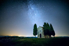 Real Night Landscape with Milky Way and Stars Royalty Free Stock Photos