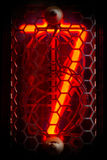 The real Nixie tube indicator of the numbers of retro style. Stock Photos