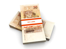 Real Notes. 50 Real notes. The brazilian currency. 3D rendered Illustration. Isolated on white Stock Photos