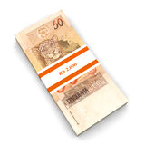 Real Notes. 50 Real notes. The brazilian currency. 3D rendered Illustration. Isolated on white Stock Photography