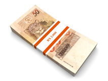 Real Notes. 50 Real notes. The brazilian currency. 3D rendered Illustration. Isolated on white Stock Image