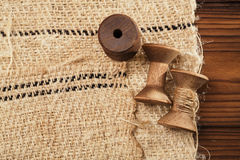 Real old reels spools with hemp treads Royalty Free Stock Photography