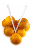 Real Oranges isolated on white Stock Images