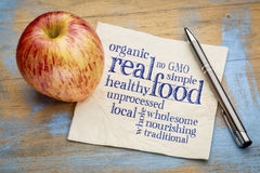 Real and organic food word cloud on napkin Royalty Free Stock Images