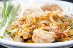 Real Pad Thai. With shimp on a table Royalty Free Stock Images