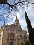 Real Parroquia de los Santos Juanes. Valencia, Spain. Blue sky. Winter 2017. Beautiful blue sky. Nice historic building. Mediterraneo landscape stock photography
