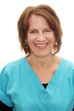 Real people female doctor. In scrubs smiling Royalty Free Stock Image