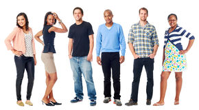 Real people. Group of real people casual diversity isolated on white background Stock Image