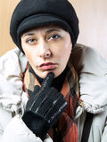 Real people portrait. Beautiful woman at winter time Royalty Free Stock Photography