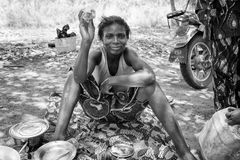Real people in Togo (Black and white) Stock Photo