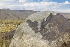 Real petroglyphs on natural stone found in the steppe, on a blurred background of beautiful mountains. Real petroglyphs on natural stone found in the steppe, on stock photos