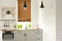 Real photo of a bright kitchen interior with wooden counter, black lamps, white cupboards and pink accents stock image