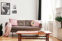 Real photo of couch with pastel pink cushions and blanket standing in white sitting room interior with wooden table with book and stock image