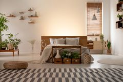 Real photo of an eco bedroom interior with a double bed, striped. Carpet, plants, lamps and empty wall in the background. Place your painting stock photos