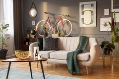 Real photo of a living room interior with a sofa with green pill royalty free stock image