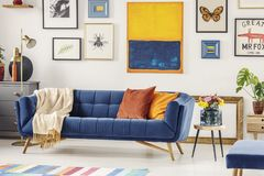 Real photo of a navy blue couch with a blanket and orange pillow. S standing against a white wall with gallery of posters in living room interior stock photography