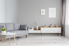 Free Real Photo Of A Spacious Living Room Interior With Gray Sofa Sta Stock Photo - 120975010