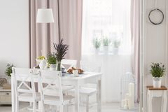 Free Real Photo Of White Table With Fresh Lavender And Breakfast Standing In Bright Dining Room Interior With Window With Drapes Stock Photos - 124870503