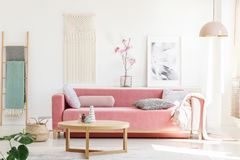 Real photo of a pink sofa with cushions and blanket standing behind a wooden table in bright living room interior with a hanging. Lamp, ladder, poster and stock photography