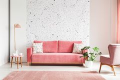 Real photo of a pink, velvet sofa, plant, coffee table with pot. And cups on a lastrico wall a living room interior royalty free stock photography