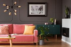 Real photo of powder pink sofa with open book standing in dark l. Iving room interior with wainscoting wall, eco fireplace and fresh plants concept stock photo
