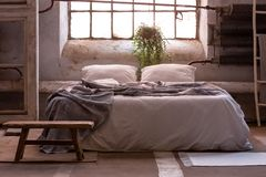 Wabi sabi bedroom interior with a bed, plant and wooden stool in front royalty free stock image