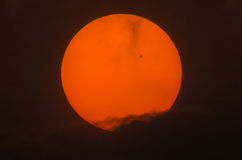 Real picture of the sun with a big sunspot group. Over the dark cloud by telescope focal length 600mm, 2x teleconverter Royalty Free Stock Photo