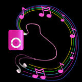 Real pink mp3 player with headphones on black background.  Vecto Stock Images
