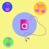 Real pink mp3 player with headphones.  Vector Stock Photos