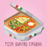 The real Pizza quattro stagioni. Pizza four Seasons. Royalty Free Stock Photos