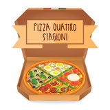 The real Pizza quattro stagioni. Pizza four Seasons. Stock Image