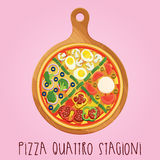 The real Pizza quattro stagioni on wooden boardr Royalty Free Stock Images