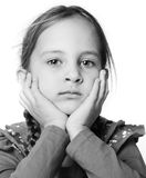 Real portrait. Adorable six year old  girl over white.It is not isolated Royalty Free Stock Images