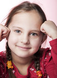 Real portrait. Close up photo of adorable six year old  girl Royalty Free Stock Photography