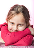 Real portrait. Close up photo of adorable six year old  girl Royalty Free Stock Photo