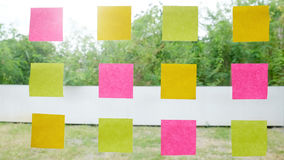 real post it notes to share idea and brainstorming concept. Stock Images