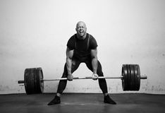 Real powerlifter. Powerlifter with strong arms lifting weights Stock Photography