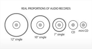 Real proportions of audio records. Vector Royalty Free Stock Photography