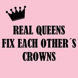Real queens fix each other´s crowns Stock Photo