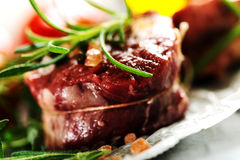 Real Raw fresh meat Steak filet mignon and rosemary Royalty Free Stock Photos