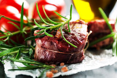 Real Raw fresh meat Steak filet mignon and rosemary Stock Photos