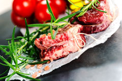 Real Raw fresh meat Steak filet mignon and rosemary Stock Photography
