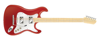 Real red electric guitar on a white background Stock Images