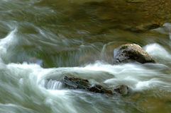 Real River Flow with Rocks. A long exposure of a real river flow with rocks in the Great Smoky Mountains National Park, Tennessee, USA. Focus = right middle rock stock photo