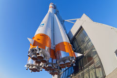 Real. SAMARA, RUSSIA - JANUARY 26, 2013: Real Soyuz type rocket as monument. Rocket height together with building - 68 meters, weight - 20 tons. The monument Stock Image
