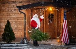Real Santa Claus gesturing hello stock photo