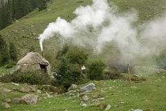 Real shepherd yurt in kyrgyzstan Tien Shan Royalty Free Stock Images